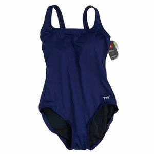TYR Navy Durafast Scoop Neck Swimsuit